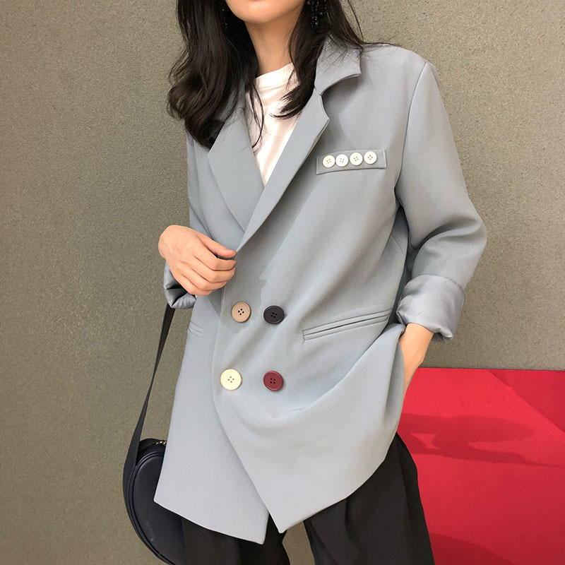 2019 Autumn New Small Suit Lazy Wind Loose Casual Suit Coat Woman Notched Double Breasted Jackets and Coats Women Clothes in Blazers from Women 39 s Clothing