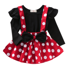 Girls Birthday Clothes Cute Minnie Dress up Baby Kids Cake Smash Outfit 2pc Set Polka Dot Strap Tops Autumn