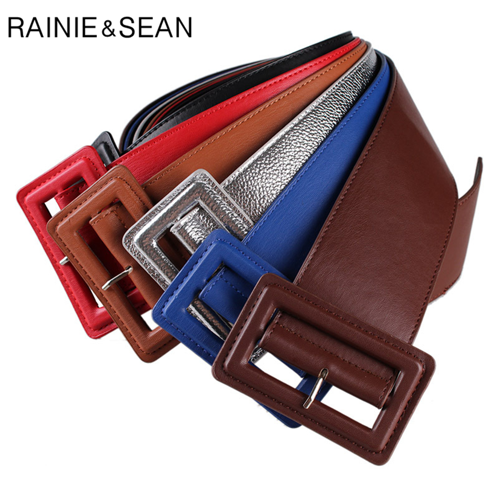 RAINIE SEAN Leather Belts For Women Wide Female Belt Buckles Fashion Autumn Winter Brand New Solid Blue Green Ladies Dress Belts