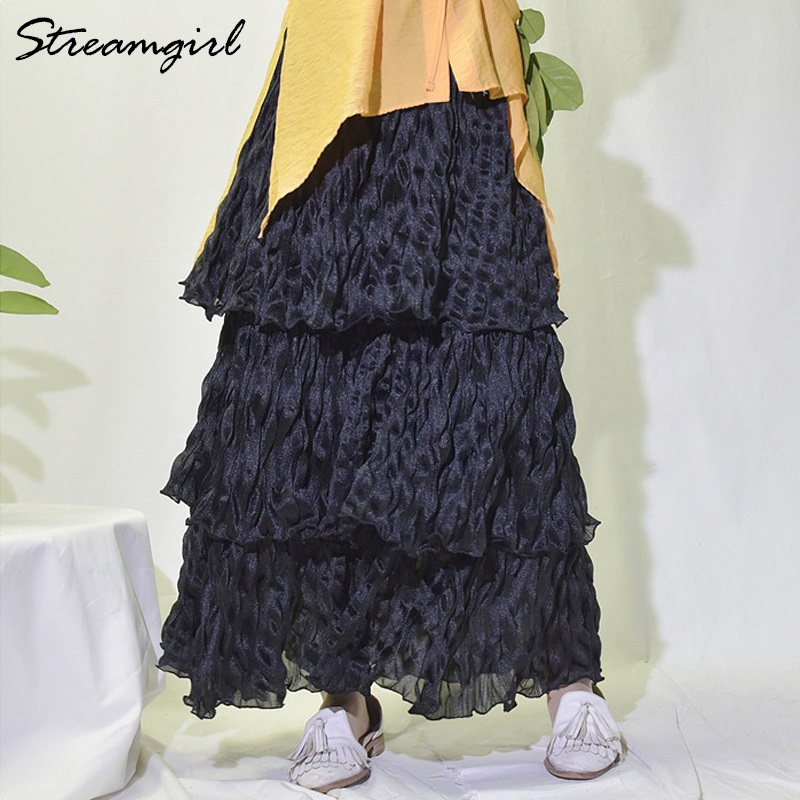 Chiffon Cake Layered Skirt High Waist Ruffled Tutu Pleated White Skirt With Elastic Waist Women Elegant Skirts Midi High Waist