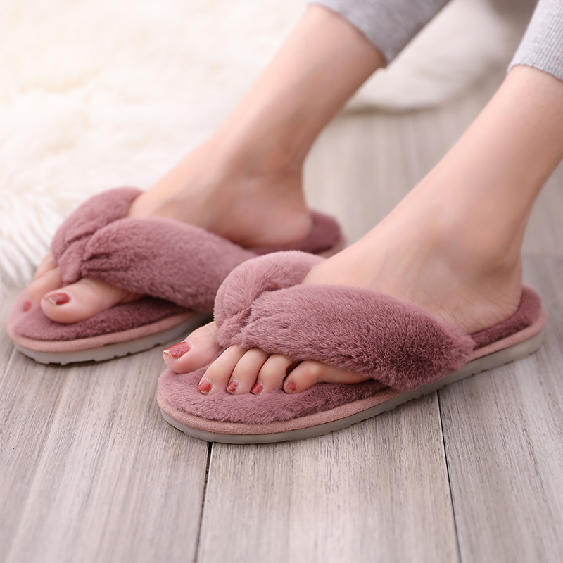 FZNYL Women Flat Home Fur Slippers Ladies Winter Warm Furry Slides Soft Comfortable Indoor House Bedroom Flip Flops Shoes Sandal