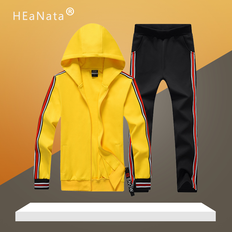Men Patchwork Tracksuit Brand Men's Sportswear Sets 2019 Fashion Hooded Zipper Hoodies+Pants Sport Suit Workout Clothes For Male