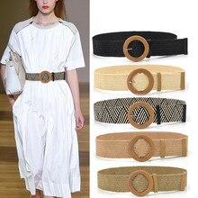 Femmes tressé ceinture élastique rond carré en bois boucle Vintage Bohe paille boucle ceinture femmes tricoté ceinture robe ceinture