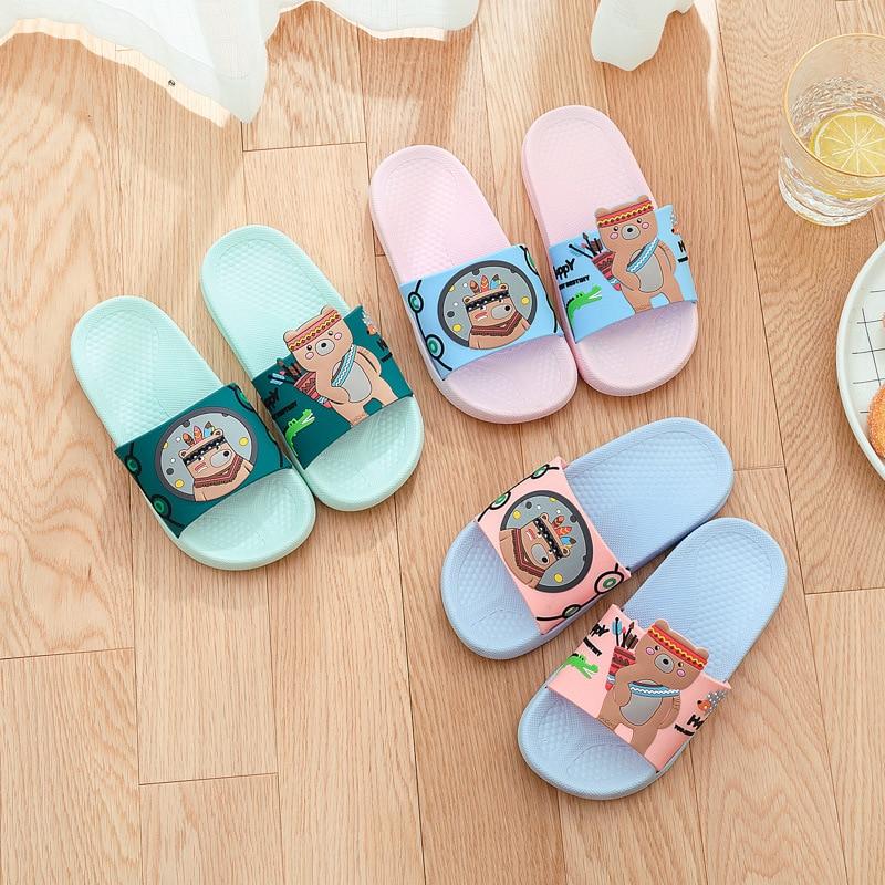 Summer Toddler Slippers Kids Cute Cartoon Bear Shoes Girls Beach Slippers Children Soft Flip Flops  Boys House Shoes Pantuflas