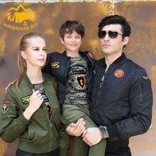 Autumn new parent-child flying jacket baseball uniform Fashion street card family matching clothes