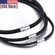 Men's Leather Choker Brown Black Braided Rope Chain Necklace For Men Boys Stainless Steel Clasp Male Jewelry Dropshipping UNM09A