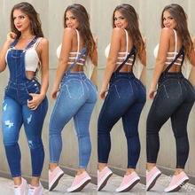 Ripped Jeans Overalls Women Slim Pockets High Waist Button Srping Summer Casual Fashion Plus Size Woman Jeans  Lugentolo