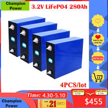 4pcs 3.2V 280Ah Lifepo4 Battery Pack Lithium Iron Phosphate Battery for Power Solar Cell Electric Car Lifepo4 Battery Charger