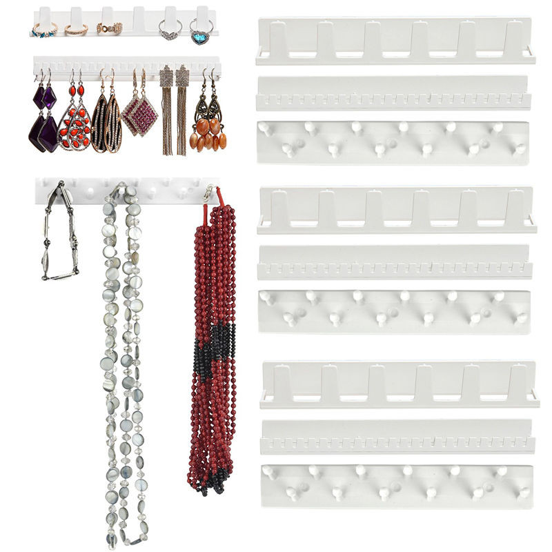 9 in 1 Adhesive Wall Hanging Shelf Jewelry Necklace Rings Earrings Keys Display Stand Rack Holder Organizer Rack Sticky Hooks(China)