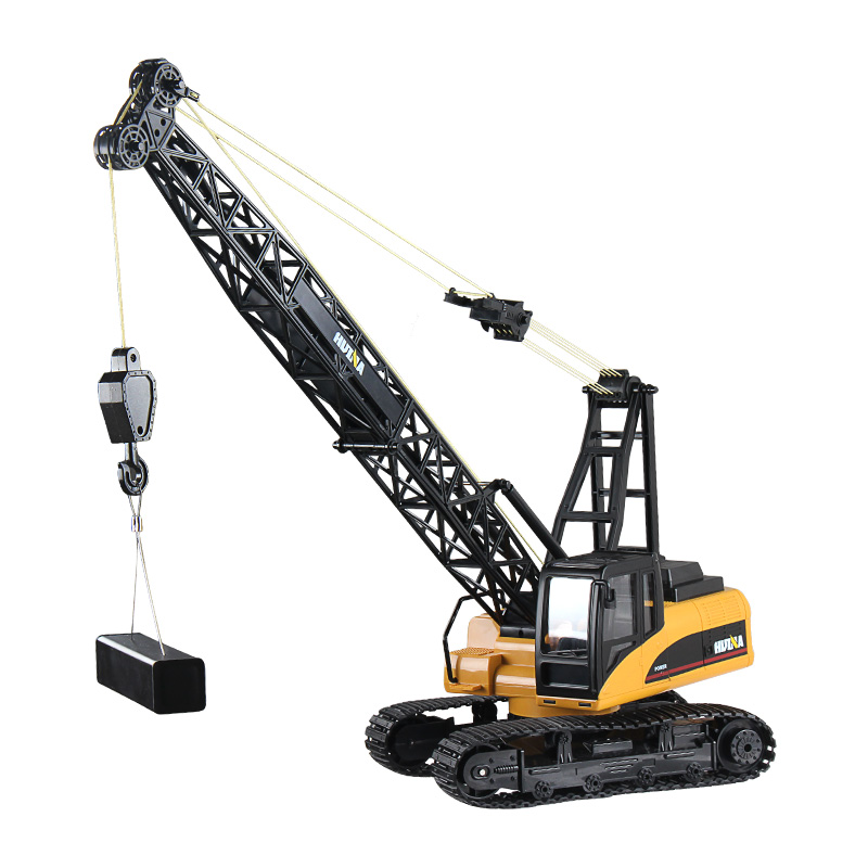 <font><b>1/14</b></font> RC Crane HUINA Toys 1572 15CH RC Alloy Crane Engineering Truck RTR Movable Latticed Boom with Hook Mechanical Sound Toy image