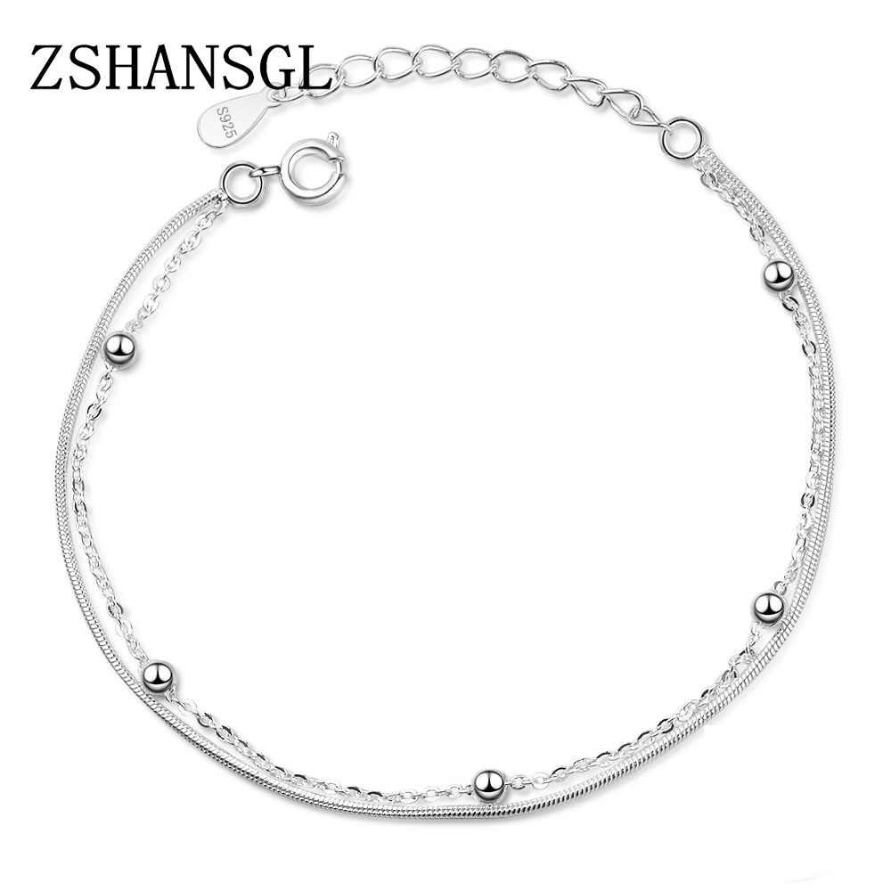 New Double-deck Bracelet & Bangle Adjustable Mujer Charm 925 sterling silver Bracelet For Women Bridal Wedding Jewelry