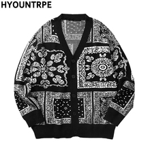 Mens Harajuku Knitted Sweater Cardigan Retro Vintage Hip Hop Streetwear Autumn Winter Cotton Casual Open Buttons Sweaters Black