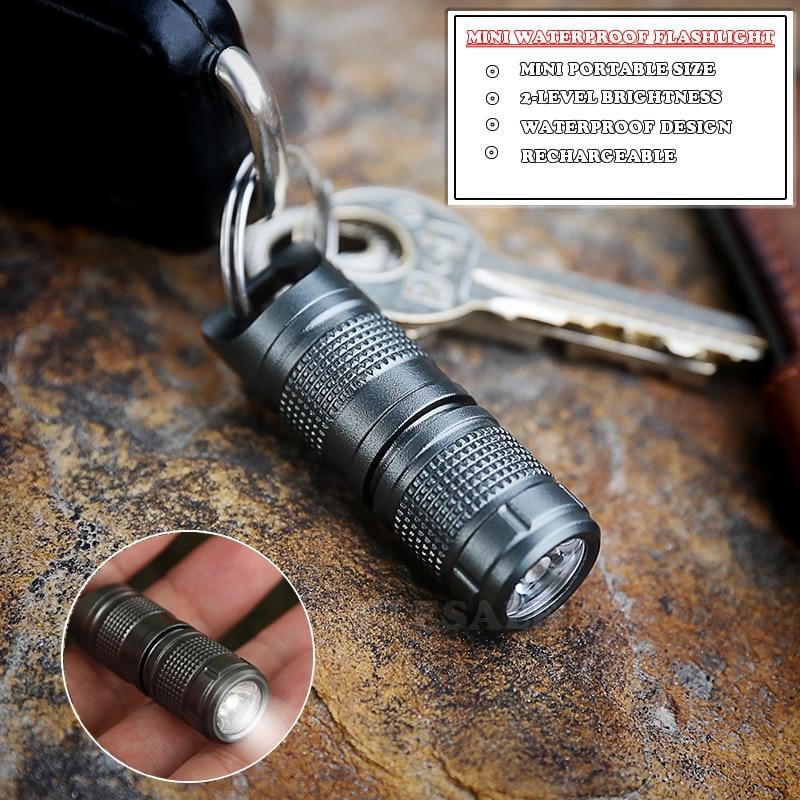 Mini Waterproof Self Defense Flashlight Aluminum Alloy Emergency Led Light Rechargeable Battery Outdoor Survival EDC Tool
