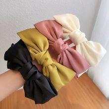 Красная повязка на голову с бантом для женщин одноцветная двухслойная
