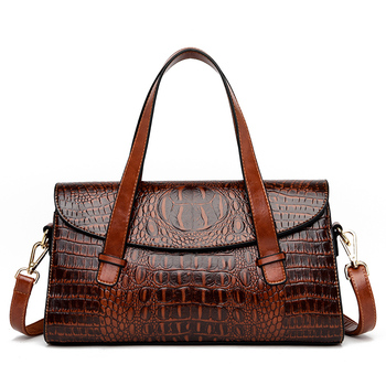 Crocodile Pattern Crossbody Shoulder Bags for Women 2020 Luxury Handbags Genuine Leather Women Bags Large Capacity Tote Bags chance love 2018 new crocodile pattern suede genuine leather women s handbag large capacity shoulder bag women bags designer