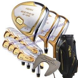 """Новый Клюшки для гольфа Хонма S-06 4 звезды Compelete клубный набор драйвер + 3/5 fairway wood + утюги + клюшки и графитовая клюшка для гольфа фирмы """"Nobag"""