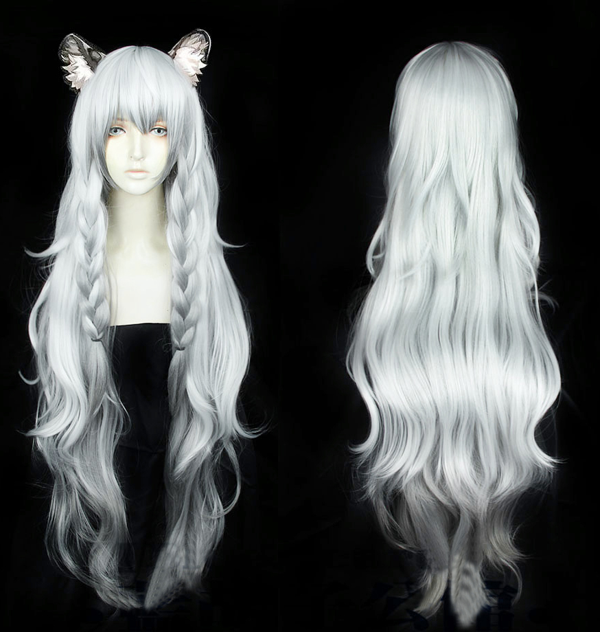 Arknights Pramanix Cosplay Wigs High-temperature Fiber Synthetic Hair Gray Long Kinky Wave Hair With Free Hair Net