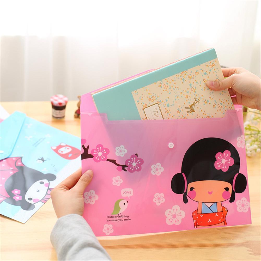 Cute Animal Pattern Plastic A4 Paper File Bag Transparent File Folder PVC File Pocket School Office Supply