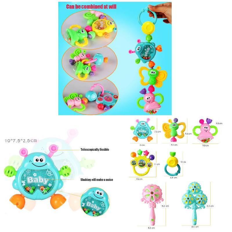 7 PCS Set Cartoon Baby Bell Rattles Newborns Music Toys For Children Infant Kids 202