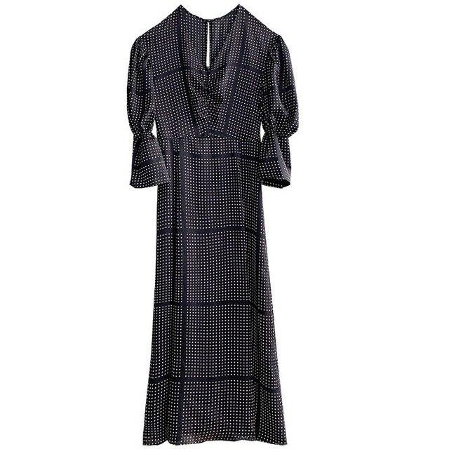 2021 Spring New Ol Slim V Neck Puff Long Sleeve Dresses Women Vintage Print Spring Long Vestidos High Waist Hip A Line Robe 6