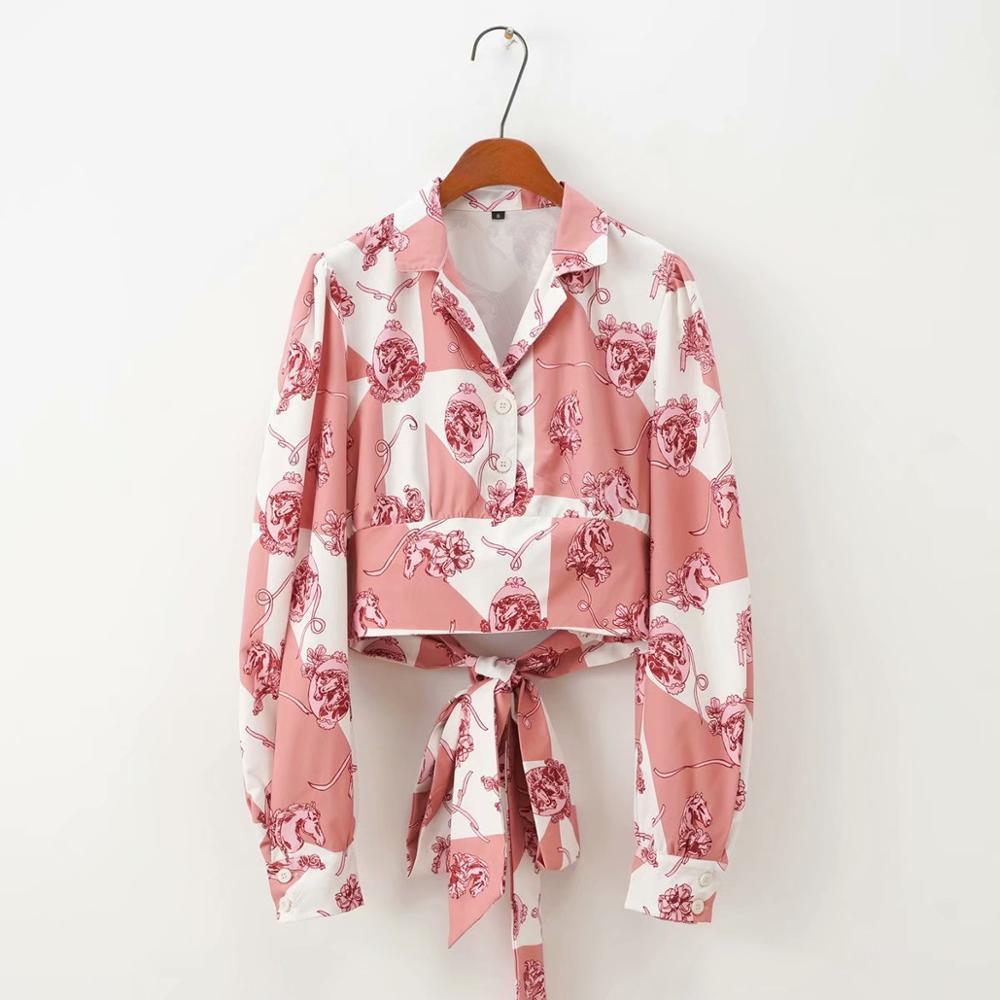 2020 Women Fashion Color Matching Print Casual Smock Blouse Shirts Women Hem Elastic Bow Tied Blusas Chic Blusas Tops LS6487