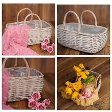 Newborn Props for Photography Natural Linen Weaving Double Barrel Props Fotografia Infantil Newborn Posing Sofa Handwoven Basket