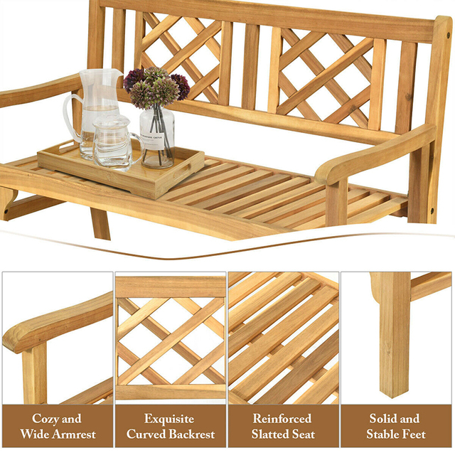 Patio Foldable Bench with Curved Backrest and Armrest  6