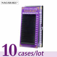 NAGARAKU 10 gevallen set, 16 rijen/lade, hoogwaardige nertsen wimper verlenging, individuele wimpers, valse wimpers, natuurlijke wimpers