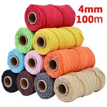 Cordón de algodón de 100% de 4 mmx110yards, cuerda de colores Beige, artesanía trenzada, cordón de macramé, bricolaje, productos textiles para el hogar decorativos