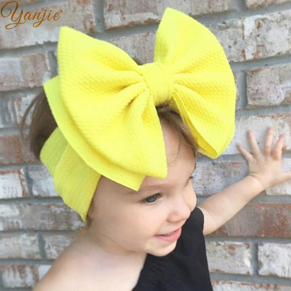 7'' Large Double Layer Hair Bow Headband Girls 2020 Hot Sale Elastic Hair Bands Kids Solid Turban Head Wrap Hair Accessories(China)