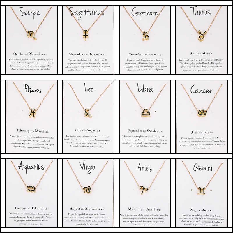 جديد 12 علامة زودياك قلادة قلادة النساء السرطان كوكبة قلادة سحر الذهب فضي سلسلة المختنق قلادة هدية للرجال