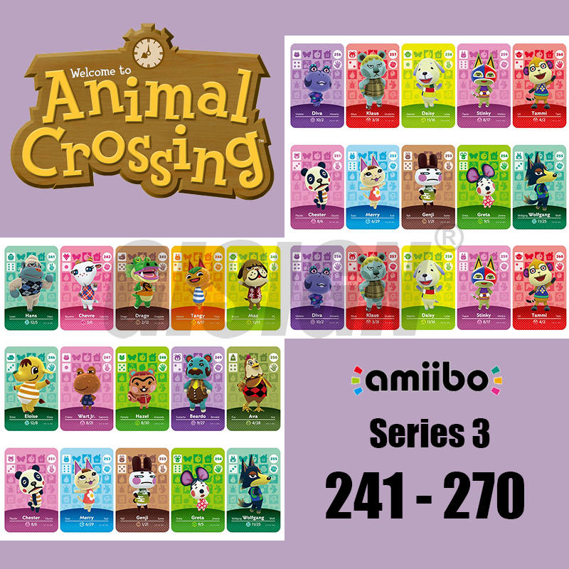 New Horizons Amiibo Animal Crossing Card For NS Switch 3DS Game Marshal Card Set NFC Cards Series 3 (241 To 270) Wolfgang