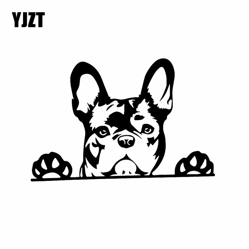 YJZT 15.6X10.4CM Creative Vinyl Car Sticker Paws Up French Bulldog Frenchie Bully Dog Decal Black/Silver C24-1573