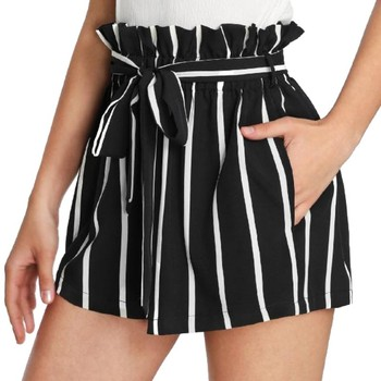 Women's Stripe High Waist Shorts Casual Elasticated Waist Stripe Summer Shorts With Pockets