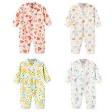 Одежда для новорожденных; для маленьких мальчиков и девочек пряжа халат с цветочным узором Детский комбинезон-кимоно комбинезон для сна с оборками комбинезон-Пижама для младенцев пижамы для малышей новорожденных# G