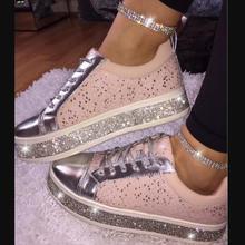 2019 new women flats shoes girls flat lace up bride wedding shoe woman round toe shiny crystal wxx068 цены онлайн