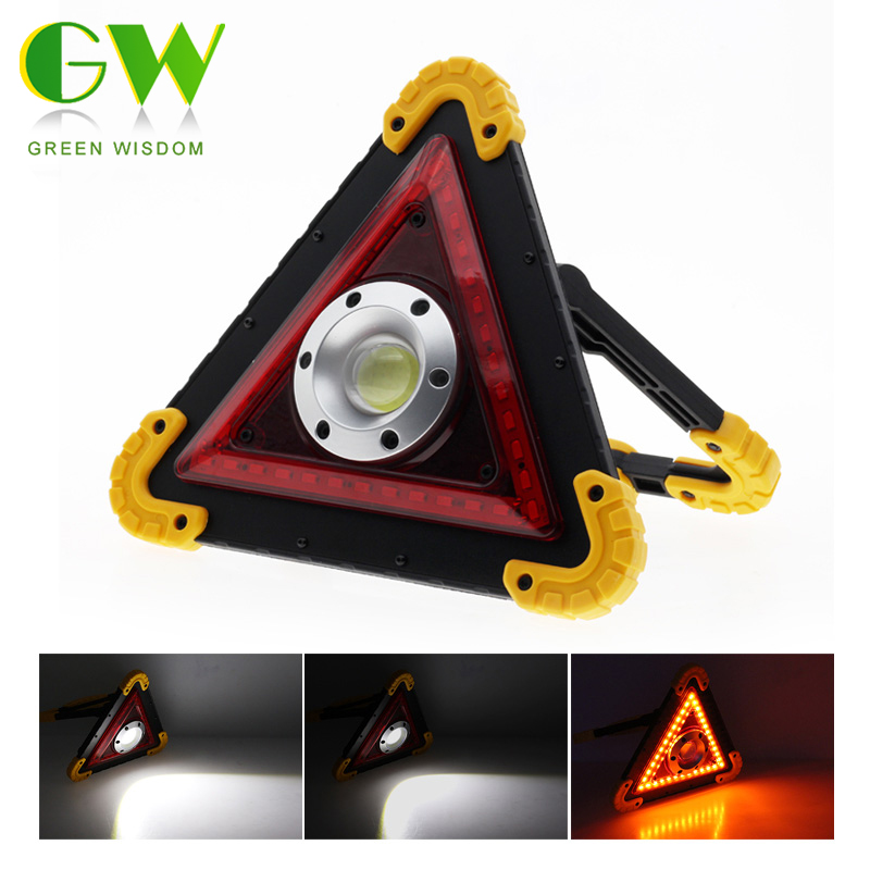 USB Rechargeable Foldable Floodlight COB Car Repair Work Lamp Triangle Warning Light 4-Mode Portable Lantern For Outdoor Camping