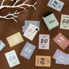 Mini Calendario de escritorio para escuela, suministros de oficina, planificador de papel en forma de lágrima, nuevo, 2021, 2020, 2021