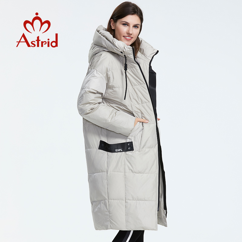 Astrid 2019 Winter new arrival down jacket women loose clothing outerwear quality with a hood fashion style winter coat AR 7038-in Parkas from Women's Clothing