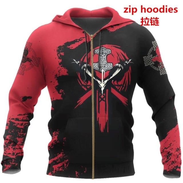 PLstar Cosmos crazy pattern warrior Viking Tattoo 3D Printed Men hoodies Harajuku Hooded Sweatshirt Autumn Fashion hoodie top-22 4
