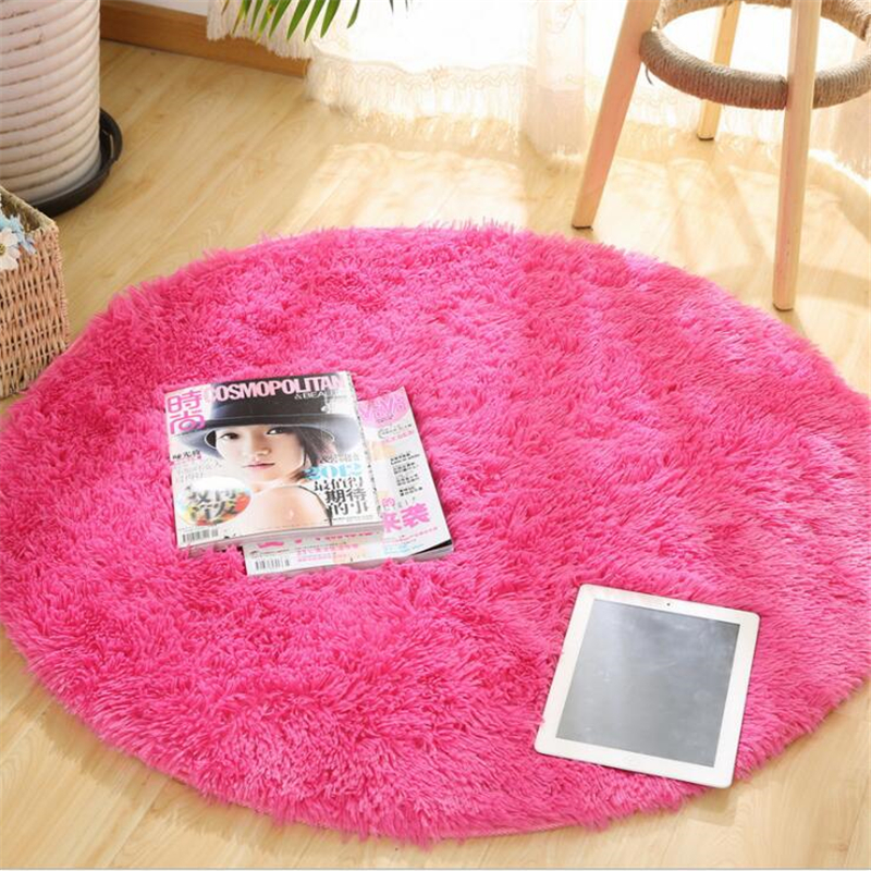 Fluffy Round Rug Carpets for Living Room Decor Faux Fur Rugs Kids Room Long Plush Rugs for Bedroom Shaggy Area Rug Modern Mats 6