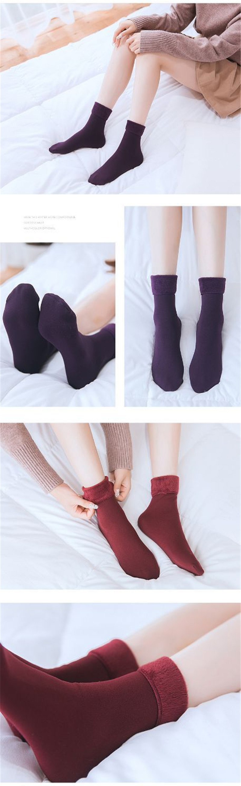 H9db9a9e75c044ee9a2e605c3175849ddy - Casual Socks For Women Nylon Plus Velvet Thickening Socks Solid Breathable Elastic Force Lady's Mid Women Warm Socks Winter