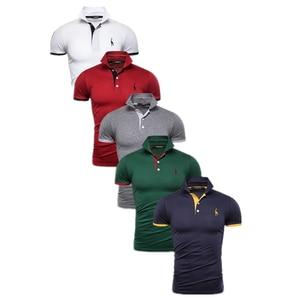 5 Pcs Set Polo Men Solid Slim Fit Short Sleeve Patchwork Cotton Polo Shirt Men Fashion Streetwear