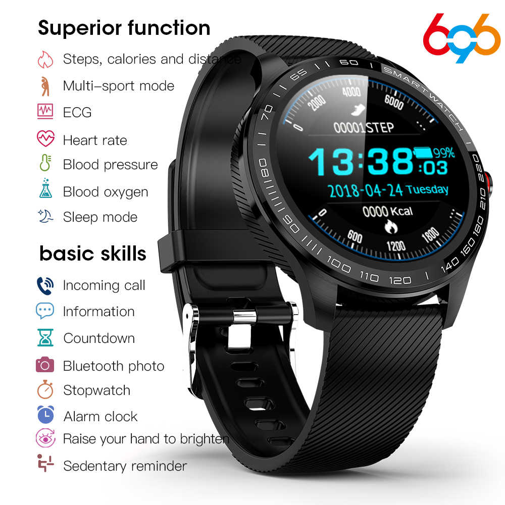 696 L9 Full Touch Smart Watch Pria EKG + PPG Detak Jantung Tekanan Darah Oksigen Monitor IP68 Tahan Air Bluetooth SMART gelang
