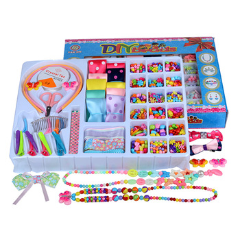 DIY Handmade Beaded Big Gift Box Children's Beaded Toys Creative Loose Beads Crafts Making Bracelet Necklace Jewelry Girl's Toy
