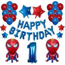 42 pçs dos desenhos animados supperhero folha balões tema festa de aniversário decoração do chuveiro do bebê homem aranha 30 polegada número ar globos suprimentos