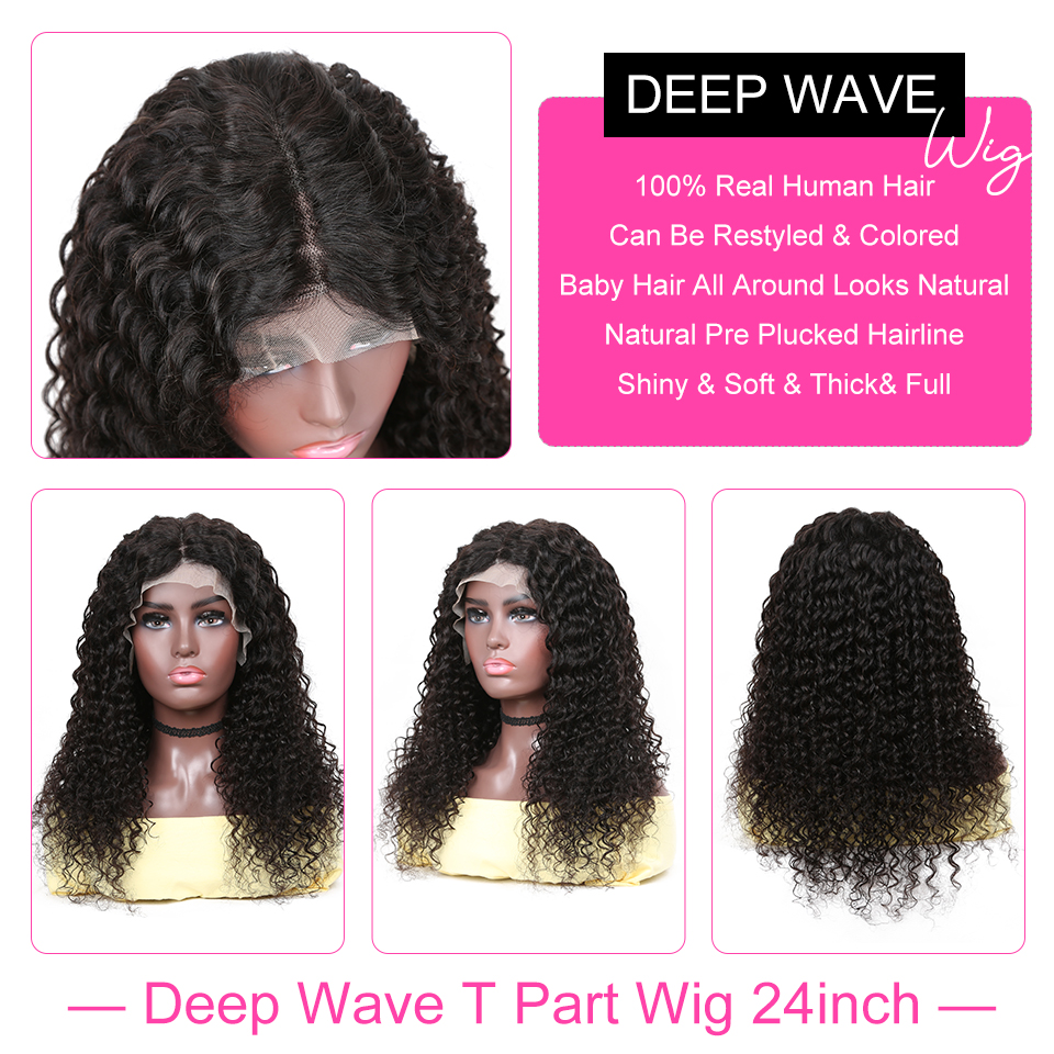 YYong Hair 1x6inch T Part Lace  Wig HD Transparent Lace Wig With Baby Hair Indian Deep Wave  Wig 3