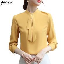 Blusa de manga larga Chifón con para otoño, camisa elegante para mujer, color amarillo, con corbata moño de chifón, 2019