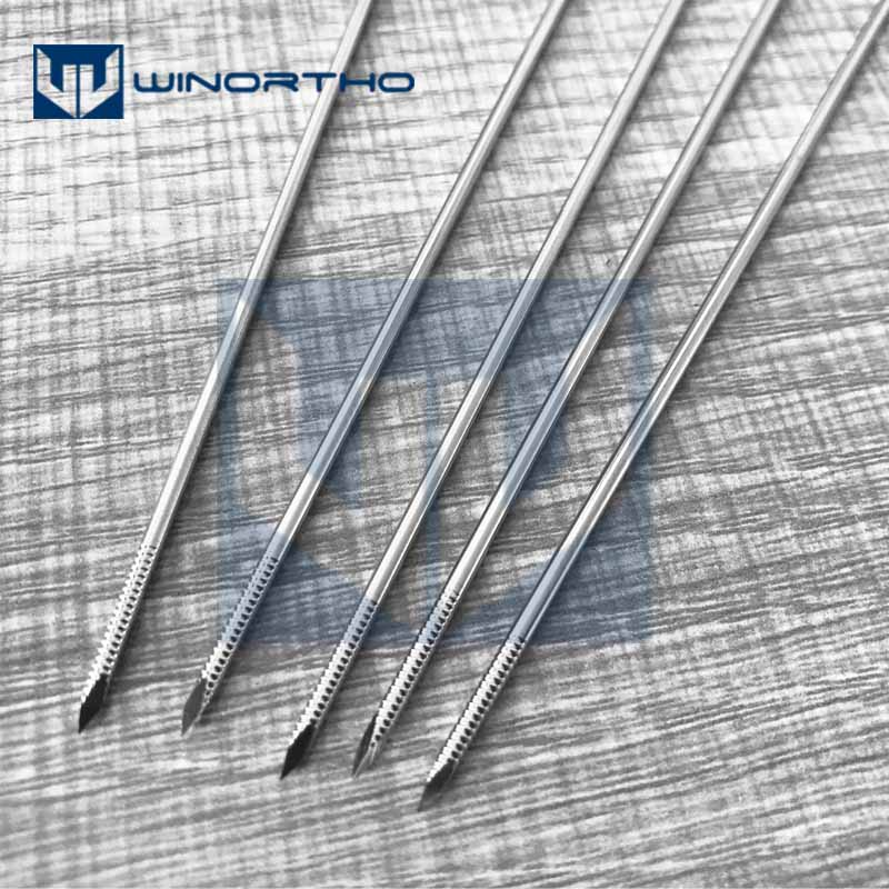 10pcs 1.0mm-4.0x250mm Long Nice Stainless Steel Partial Threaded Kirschner Wires Veterinary Orthopedics Instruments
