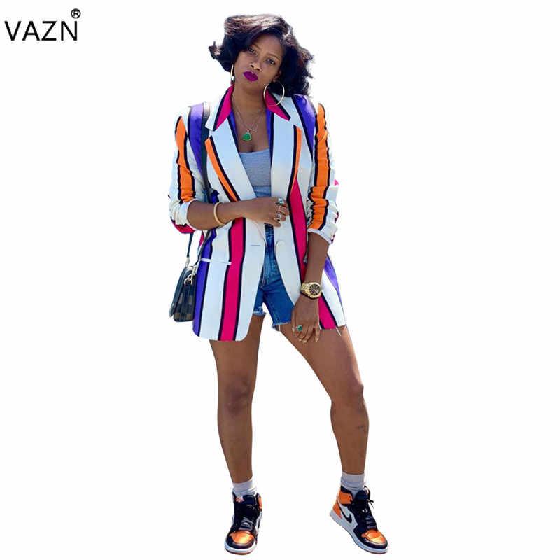 VAZN PN6235 новый продукт 2019 летний сексуальный женский костюм цвета пальто с длинным рукавом одна пуговица куртка-разлетайка для беременных офисные женские полосатые пальто